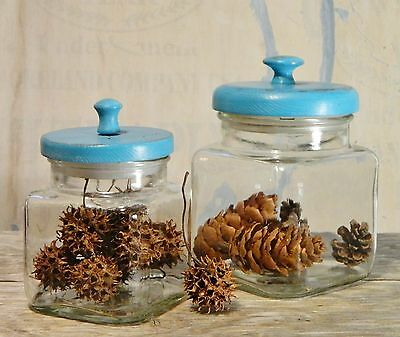 Vtg/Apothecary Jars/Clear Glass Canisters/Square Container/Blue Wood/Seal Lid/ 2