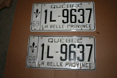 1969 Quebec Auto Plates Front andRear