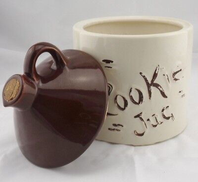 Vintage Brown Jug Cookie Jar Pottery circa 1950's