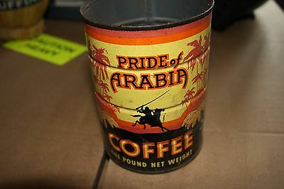 Vintage Pride of Arabia Coffee Can One Pound Net Weight