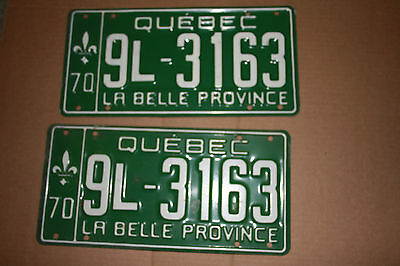 1970 Quebec CAR PLATES FRONT AND REAR