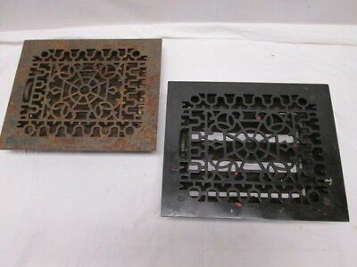 2 Antique Cast Iron Victorian Floor Heating Grates Vents with Louvres