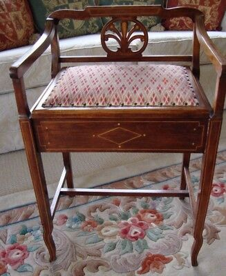 Antique Lovely Lift Up Lid Edwardian Inlaid Piano Stool Embroidered Florentine