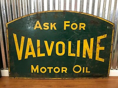 1950's Valvoline Motor Oil Sign Green Yellow Rare Vintage Double Sided