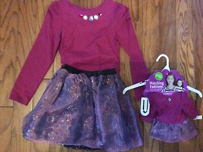 Dollie and Me Berry Sequin Skirt Outfit with Matching Doll Outfit Size 7 NWT