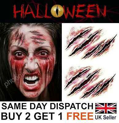 Halloween Zombie Scars Tattoos Fake Cuts Scar Gashes Wound Face Make-Up Kit UK