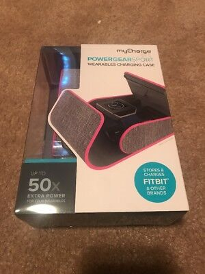 NEW myCharge PowerGear Sport Wearables Hard Charging Case PINK/GREY Fitbit K6
