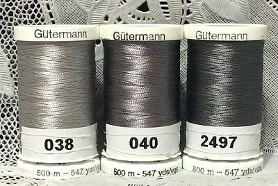 3 NEW Gray GUTERMANN 100% polyester embroidery thread 547 yards Spools