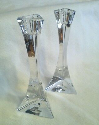 "CRYSTAL CANDLE HOLDERS 7"" pair  Art deco  modern triangle  art  Unique"