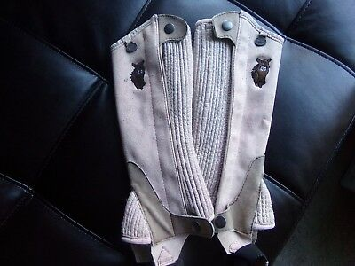 *ovation* Youth Ultra Suede Half Chaps Pink With Horse Head Size A 8-10 Euc!