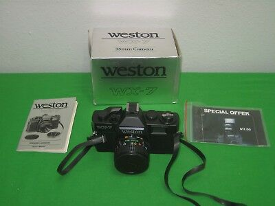 Vintage Weston 35mm Camera Model WX-7 with 55MM Optical Lens & Instructions