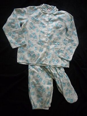 9d5bc24e7d95 VINTAGE SEARS 2 Pc Flannel Footed Pajamas Mint Floral Size 38 Large ...