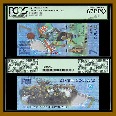 Fiji 7 Dollars, 2016 P-120 New Rugby 7s Gold Olympic Polymer PCGS 67 PPQ