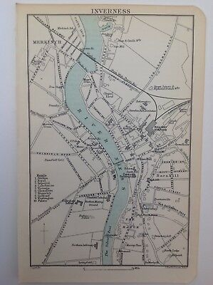Scotland, Inverness Street Plan, 1892, Antique Map, Bartholomew