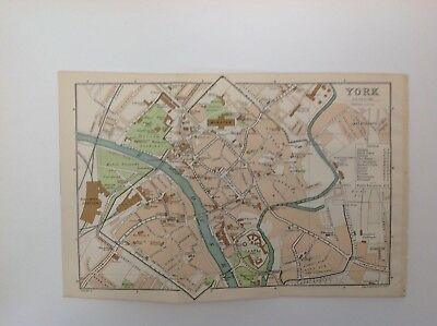 York Street Plan, 1908 Antique Map, Bartholomew, Original