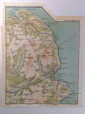 Scotland, Isle Of Arran, 1892, Antique Map, Bartholomew, Original