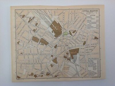 Central Bradford, Yorkshire, 1908 Antique Plan, Bartholomew, Original