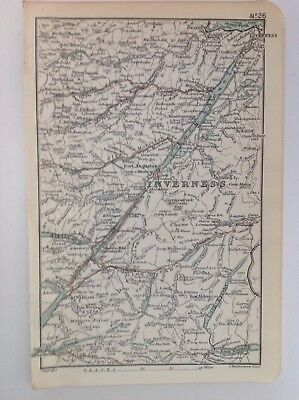 Scotland, Inverness, 1892, Antique Map, Bartholomew, Original