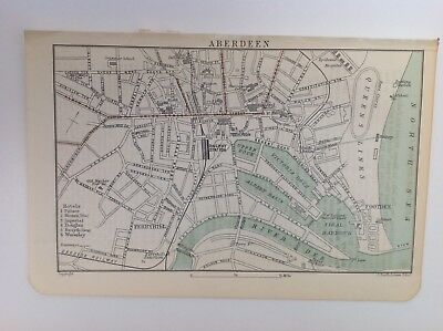 Scotland, Aberdeen Street Map, 1892, Antique Map, Bartholomew