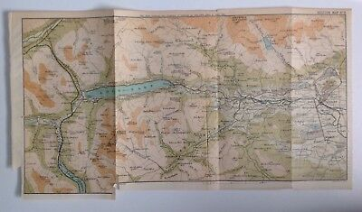 Scotland, Loch Earn, 1892, Antique Map, Bartholomew, Original