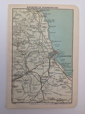 Environs Of Scarborough, Yorkshire, 1908 Antique Map, Bartholomew, Original