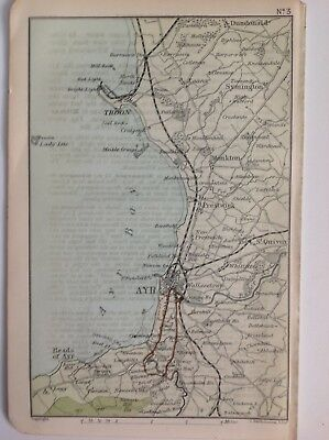 Scotland, Ayr, 1892, Antique Map, Bartholomew, Original