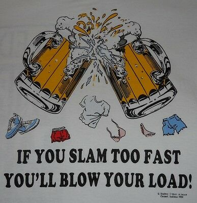 CO-ED STRIP BLOW YOUR LOAD, 90's OLD SCHOOL FUNNY COLLEGE SHIRT VINTAGE (XL) NEW