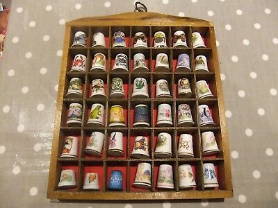 Ceramic Thimble Collection Of 42 Various Thimbles.+ The Wood Display Cabinet.