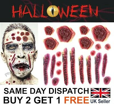 Halloween Zombie Scars Tattoos Fake Cuts Scar Wound Stitches Face Make-Up Kit UK