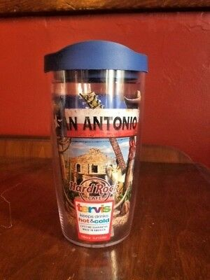 HARD ROCK CAFE San Antonio Tervis Tumbler 16oz with blue lid