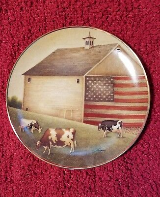 """""""Proud Pasture"""" The Franklin Mint Collector Plate By Lowell Herrero Folk Art Cow"""