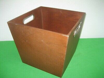 Wood Brown Basket Hand Made Trash Can Box Planter Stainless Steel Insert Handles