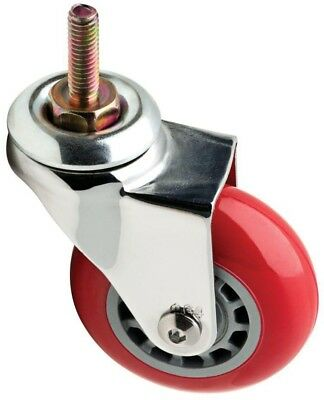 Red Swivel Stem Caster 110 lb. Load Rating Metal Plate Plastic Wheel Screw Mount