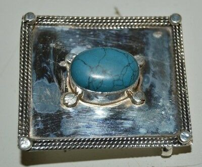 Nice Vintage 925 Silver Plated Women's Faux Turquoise Square Belt Buckle RARE