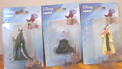 3pc. LOT DISNEY VILLAINS PVC FIGURES  CAKE TOPPERS MALEFICENT,URSULA AND CRUELLA
