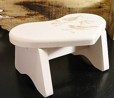 Wood Foot Stool/Step Bench/Hand Crafted/Soft Pink/Brown Bird/Shabby Cottage Chic