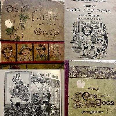 Antique Children's book Victorian lot school vintage 1800s 1900s illustrated