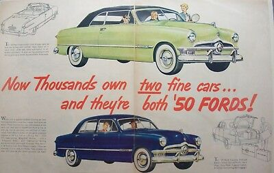 """Ford Lot 01 Of 12 Automobile Double Page Ads / 1950's/60's / Size:14"""" X 20"""""""