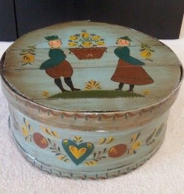 "Antique FOLK ART WOOD DUTCH BOX Pennsylvania Wedding Box 15"" ROUND HANDPAINTED"