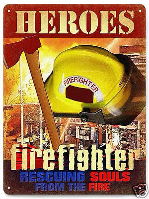 Firefighter Metal sign hero fireman gift  Mancave vintage style Wall Decor 119