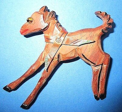 """Vintage Hand Carved Wooden Horse Figure = Pin = Glass Eye= Leather Collar = 3"""" T"""