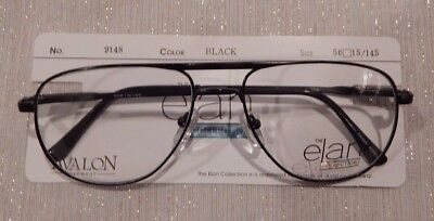 4250adeefd0 Vintage Elan 9148 Black 56 15 Men s Double Brdge Aviator Eyeglass Frame NOS   214