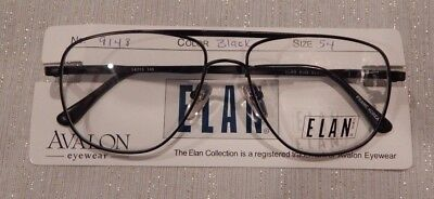 d414c07417a Vintage Elan 9148 Black 54 15 Men s Double Brdge Aviator Eyeglass Frame NOS   214