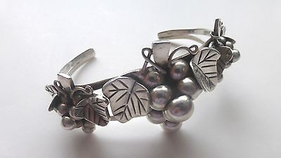 Vintage Mexican Sterling Silver Cuff Bracelet Grape Vine Design
