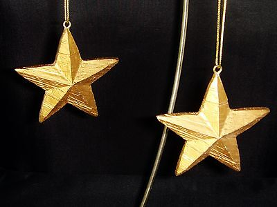 Lot of 6 Wooden Stars Christmas Ornaments Holiday Decor Distressed Finish