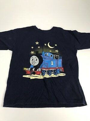 Thomas The Tank Engine Boy's Graphic Design Blue Short Sleeve T Shirt Top Size 7