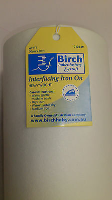 Birch White Iron On  Interfacing: Heavy Weight