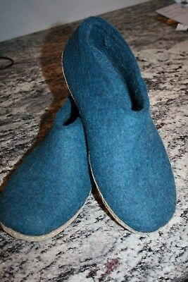 Excellent preowned Glerups Felt Shoes/Slippers Size 40 Petrol Blue Gently Worn