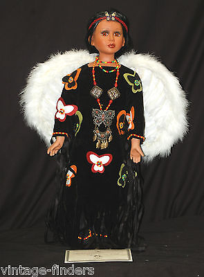 Classic Style Porcelain Native American Doll Butterfly w Certificate & Jewelry