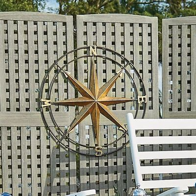 Compass Wall Decor Metal Vintage Style Nautical Art Hanging Outdoor Captain Gift